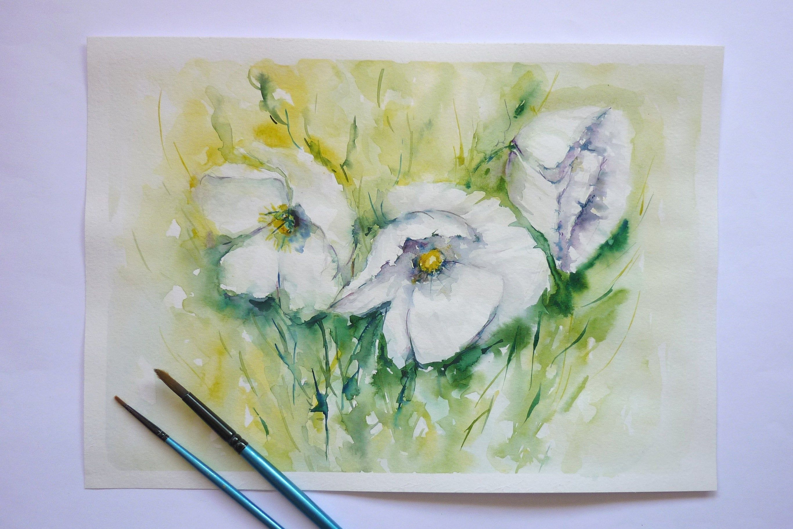 White Watercolor Flowers Flowers Painting Aquarelle Art Poppy