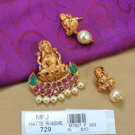 cd47fe7ff6813 1 Gram Gold Dip Ruby & Emerald Stones Lakshmi & Flowers Design With ...
