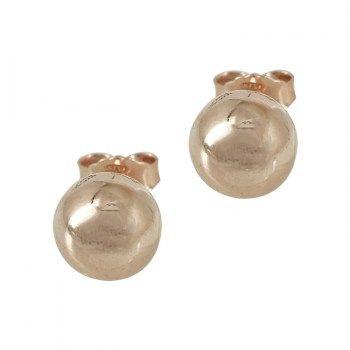 Σκουλαρίκια : Ασημένια Σκουλαρίκια Φούσκες με Ροζ Επιχρύσωμα SK250