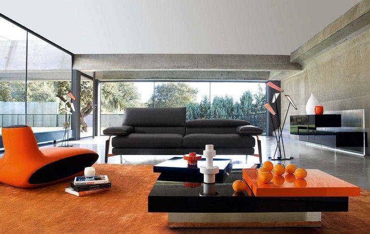 Trendfarbe Flame im Wohnzimmer mit Schwarz kombinieren Interior - wohnzimmer design schwarz
