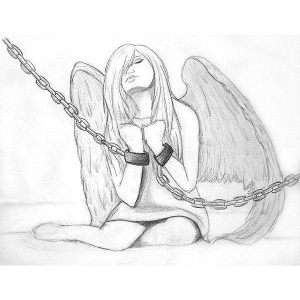 Fallen Angel Sketch By Makeshiftpaperwings Liked On Polyvore Featuring Drawings Art Art Drawings Sketches Simple Art Drawings Sketches Creative Art Sketches