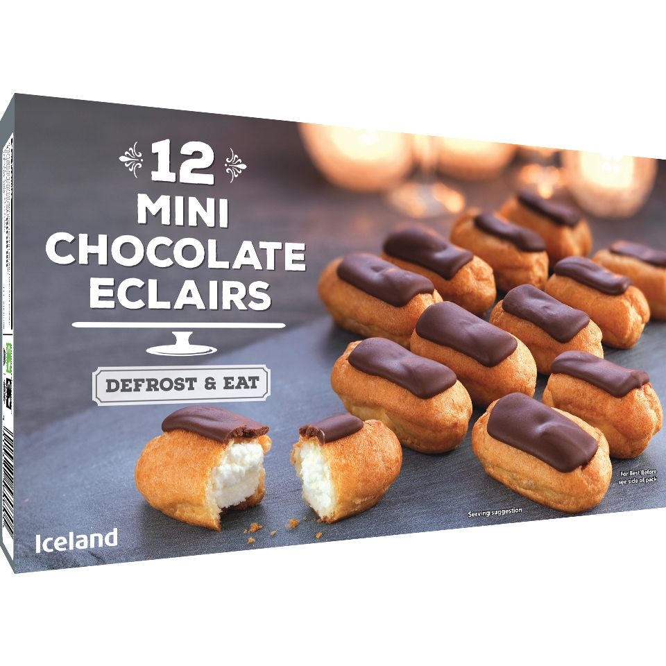 Iceland 12 Mini Chocolate Eclairs 140g Party Food Dessert Iceland Food Eclairs