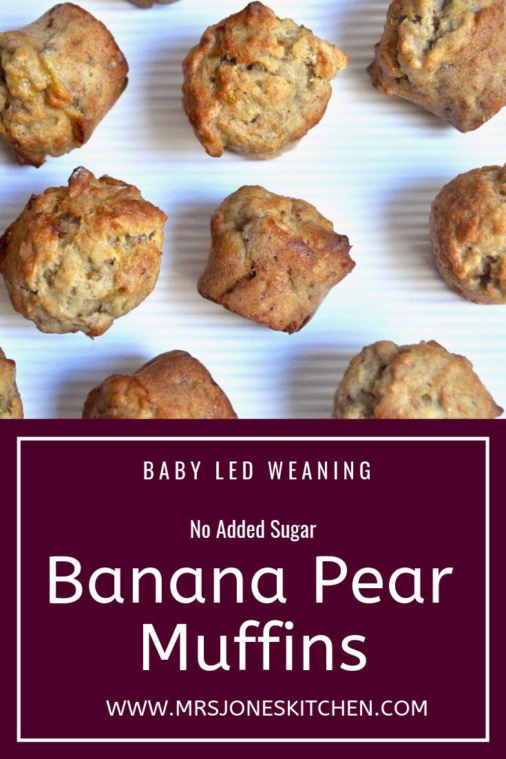 Sugar Free Banana Pear Muffins Recipe Pear Muffins Baby Food Recipes Pear Recipes