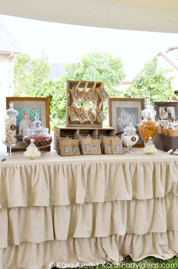 From kara s party ideas rustic dessert table display designed by - Candy Favor Table At A Chalk Chalkboard And Burlap Themed Baptism Luncheon Party Find This Pin And More On Awesome Party Ideas From Kara S Party Ideas By