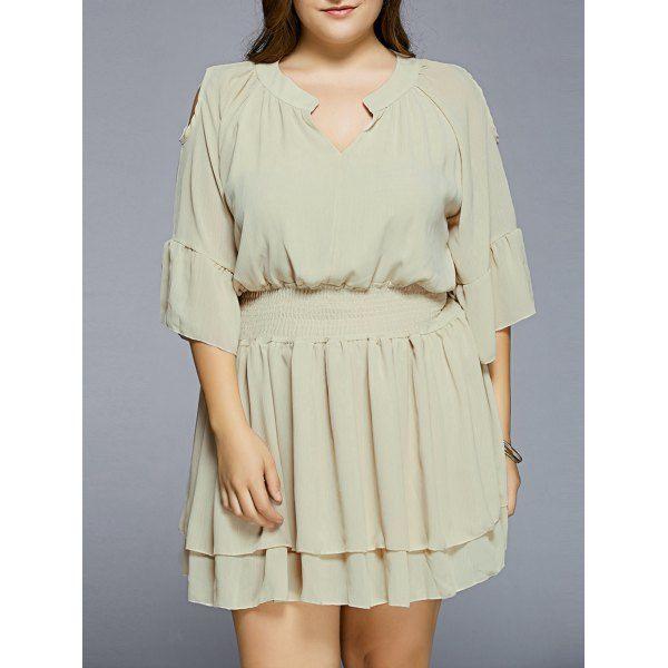 Plus Size Cold Shoulder Layered Dress — 17.73 € -----------------Size: XL Color: LIGHT YELLOW