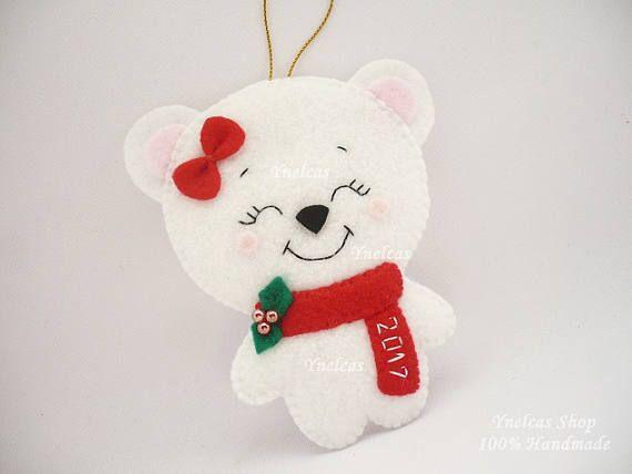 Personalized Bear Felt Christmas Ornament Handmade Xmas Holiday Tree