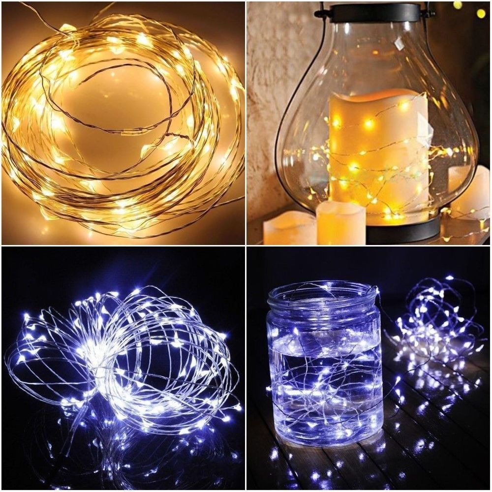 10/20 100 LED Battery & Plug Micro Rice Wire Copper Fairy String Lights Party