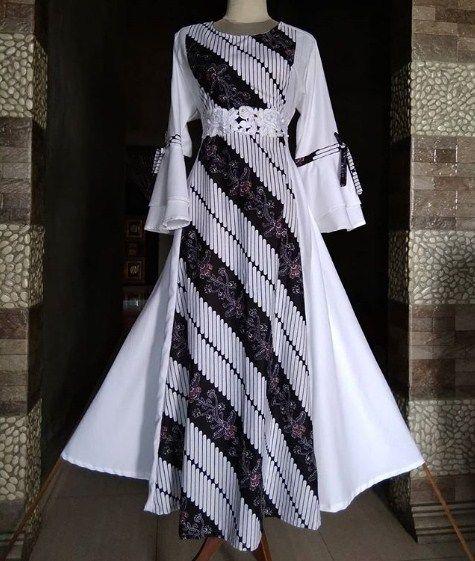 Baju Gamis Batik Kombinasi Brokat Gaun Perempuan Model Pakaian Muslim Model Pakaian