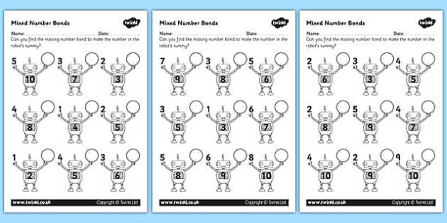 FREE Mixed Number Bonds to 10 on Robots Worksheet - number bonds ...