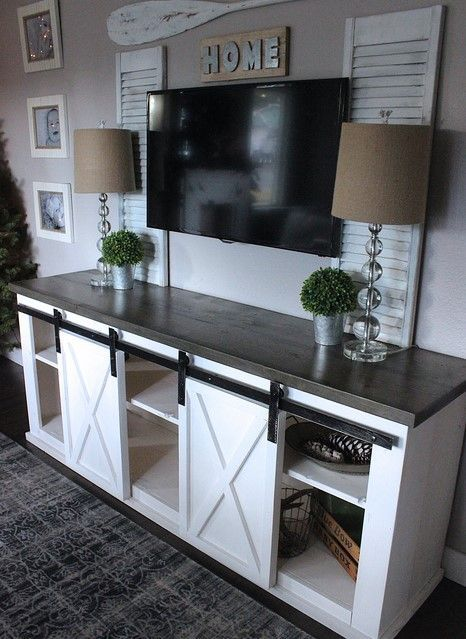 Farmhouse Style With Sliding Door Tv Stands Homeimprovementandlastmanstanding