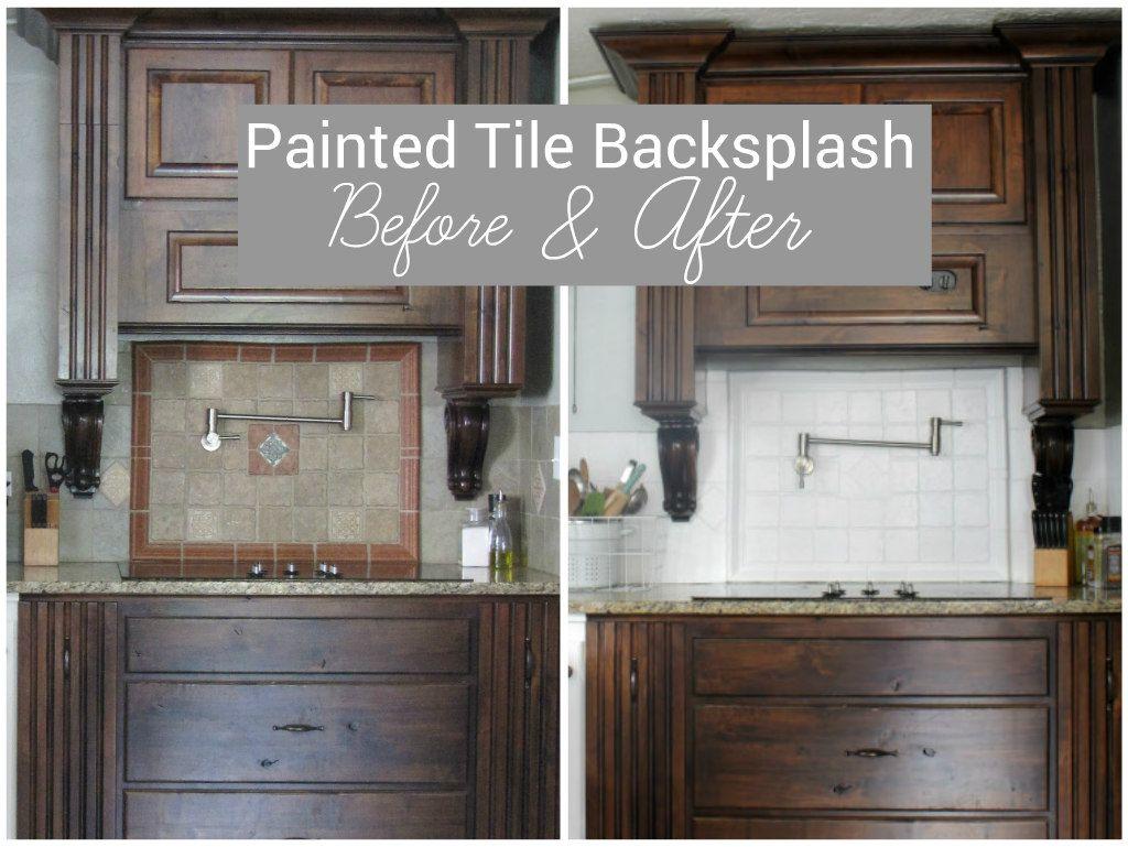 I Painted Our Kitchen Tile Backsplash Kitchen Tiles Backsplash Painting Kitchen Tiles Kitchen Tiles