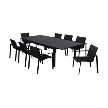 Table de jardin Miami rectangulaire noir 10 personnes | Leroy Merlin ...