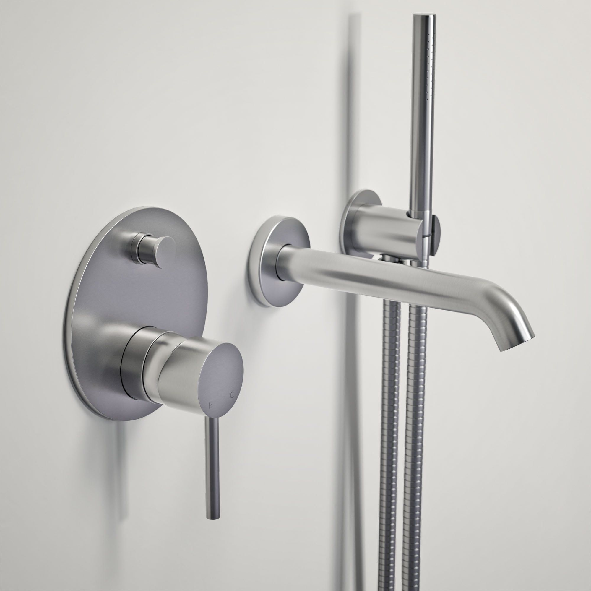 Pin By Lusso Stone On Lusso Luxe Wall Mounted Bath Tap With Valve And Handheld Shower Kit