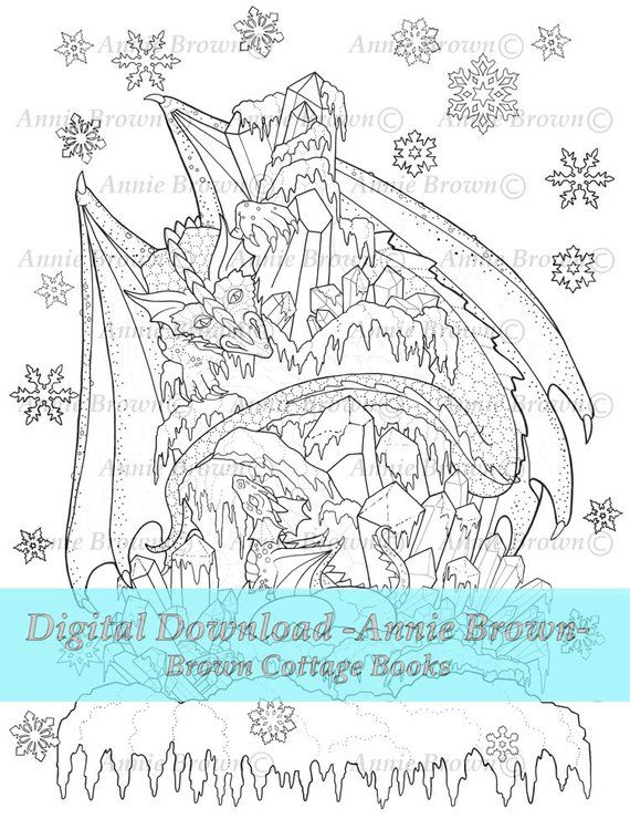Ice Dragon Download Page Adult Coloring Page Fantasy Printable
