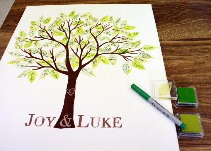 Velmi popularny strom z odtlackami prstov vsetkych svadobnych hosti na pamiatku - detske farby na peciatky maju v kazdom hrackarstve