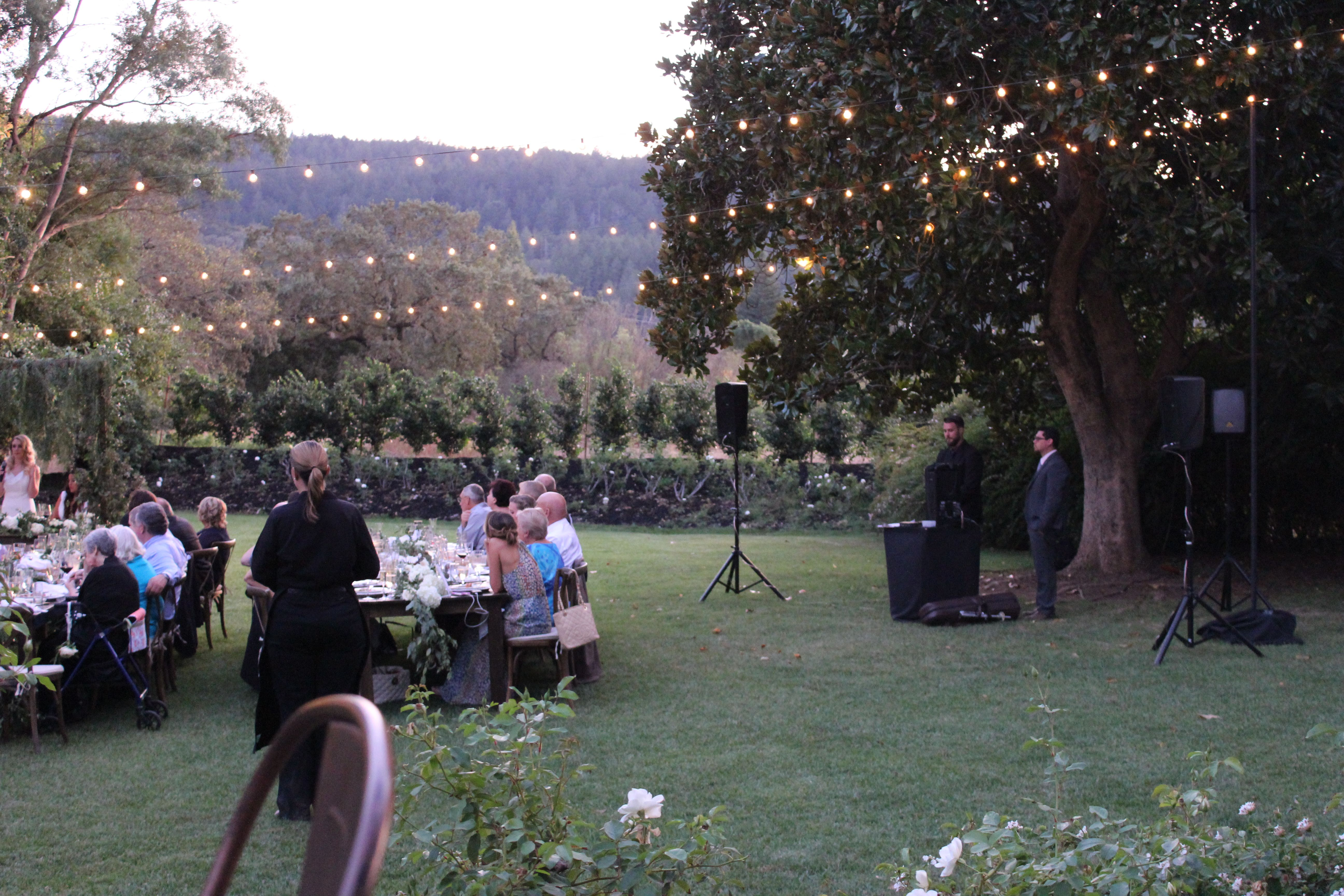 Great use of string lighting for stunning wine country wedding