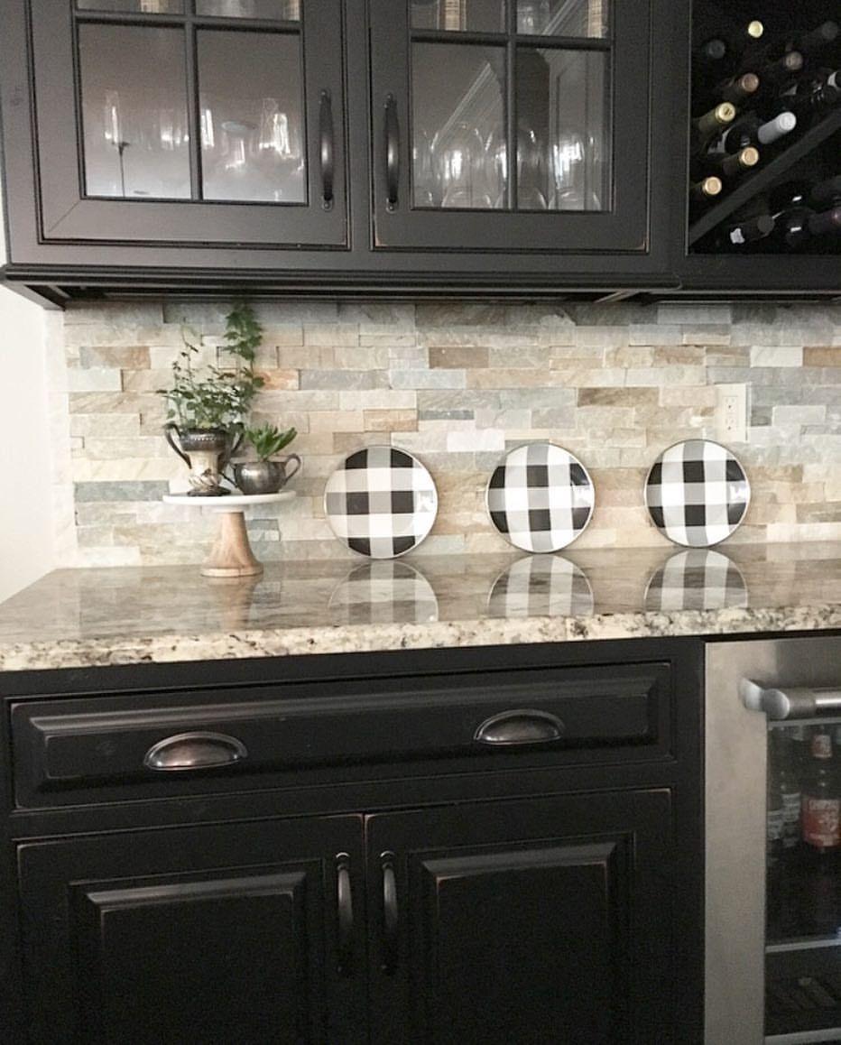 Modern Kitchen Stone Backsplash Fall Kitchen Decor Buffalo Check Decor Buffalo Check Plates