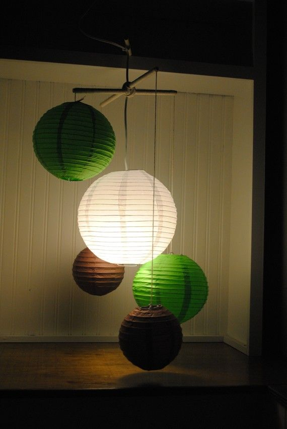 Lighted Paper Lanterns Lighted Paper Lantern Mobiles Change Colors To Black Yellow And