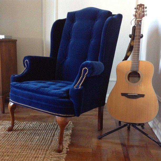 Love this blue chair! Velvet wingback chair, Green