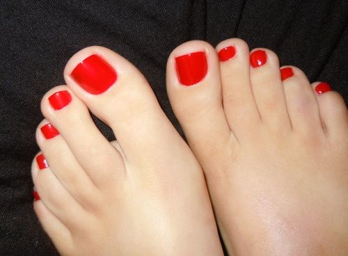 Sexy feet red painted toenails-7175