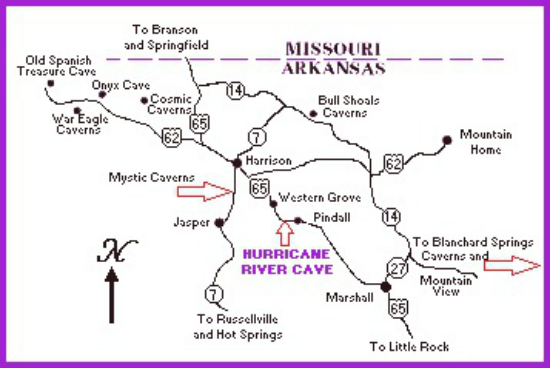 Map To Hurricane River Cave Pindall Arkansas