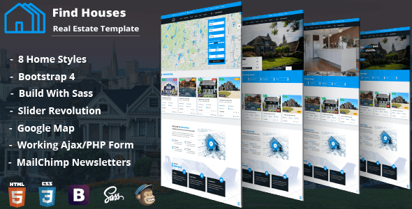 Find Houses Real Estate Html Template Stylelib Real Estate Estates Real Estate Templates