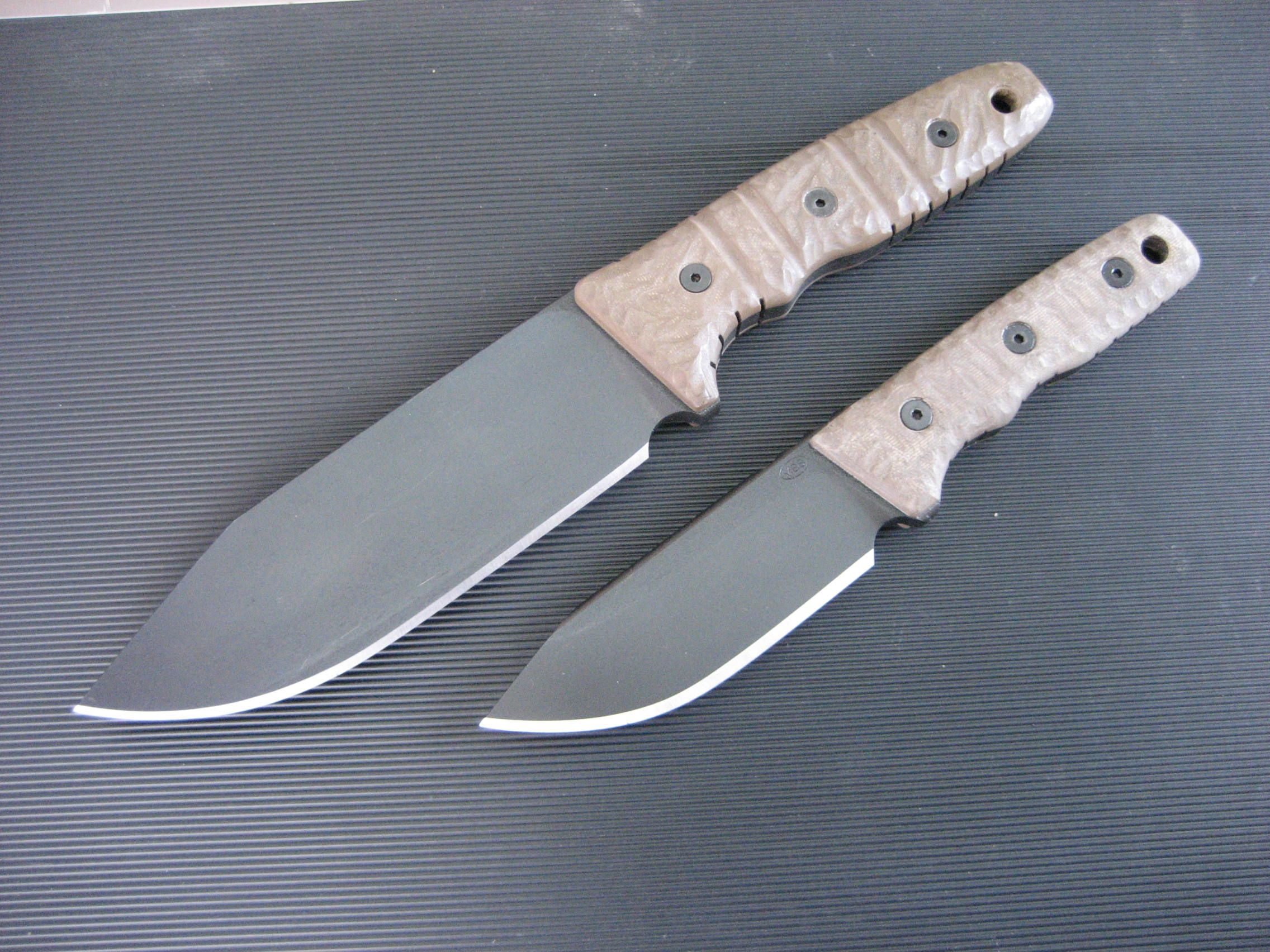 Miller Bros. Blades (MBB) M-8 with full flat grind (top) and new for 2014 M-8c (compact) pictured beneath.  Custom Handmade Swords, Knives & Tomahawks/Axes http://www.millerbrosblades.com/