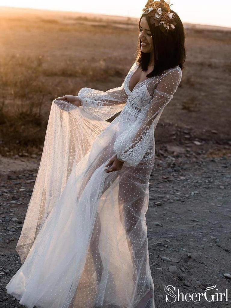see through white chic boho wedding dress features long