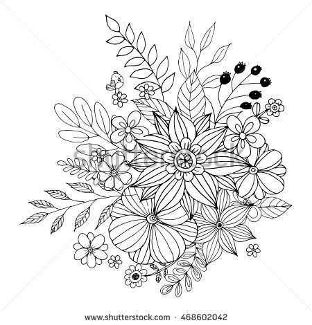 Flowers Coloring Page Hand Drawn Doodle Floral Patterned Vector