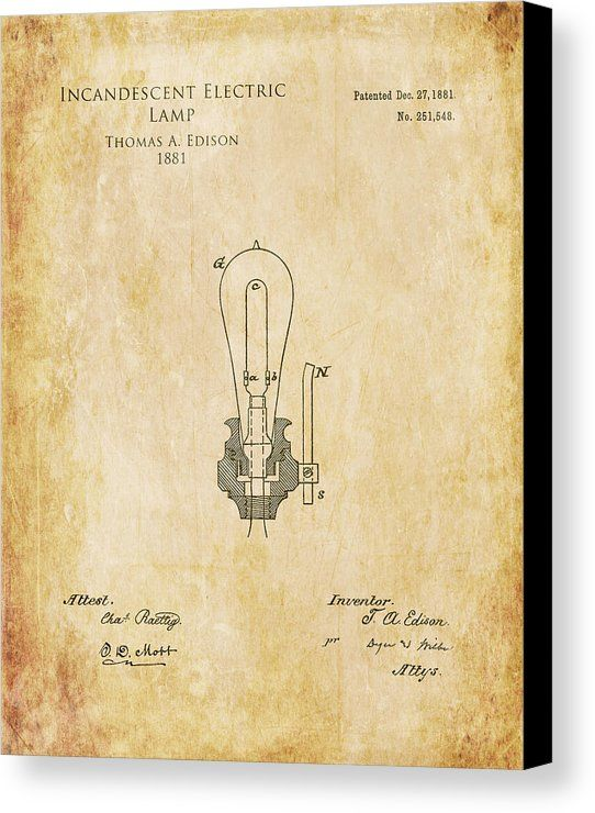 1800s edison incandescent electric lamp patent print lightbulb 1800s edison incandescent electric lamp patent print lightbulb blueprint art canvas print canvas art by sara h malvernweather Images