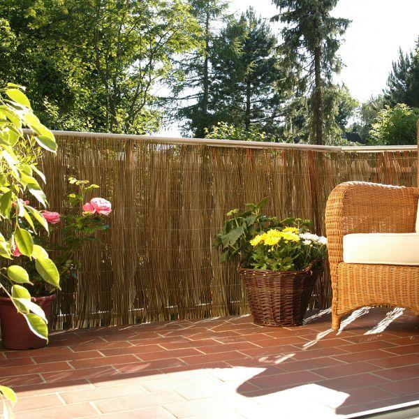 Weidenmatte Sichtschutzmatte Champagne Hell Garten Anbau Und