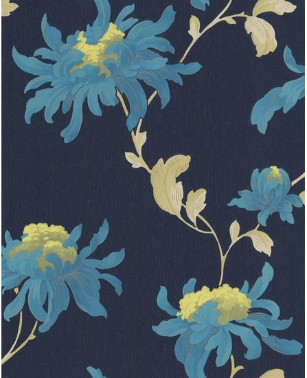 Bold Blue Wallpaper From The Fabulous Collection By Julian Macdonald For Graham Brown Blue Floral Wallpaper Botanical Wallpaper Blue Wallpapers Elegant navy blue wallpaper for walls