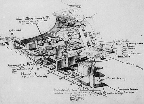 louis kahn, movement diagrams, philadelphia planning study