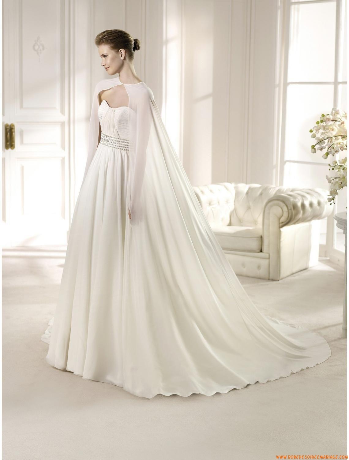 robe de mari e longue mousseline strass avec cape mode pinterest robes de mariage longues. Black Bedroom Furniture Sets. Home Design Ideas