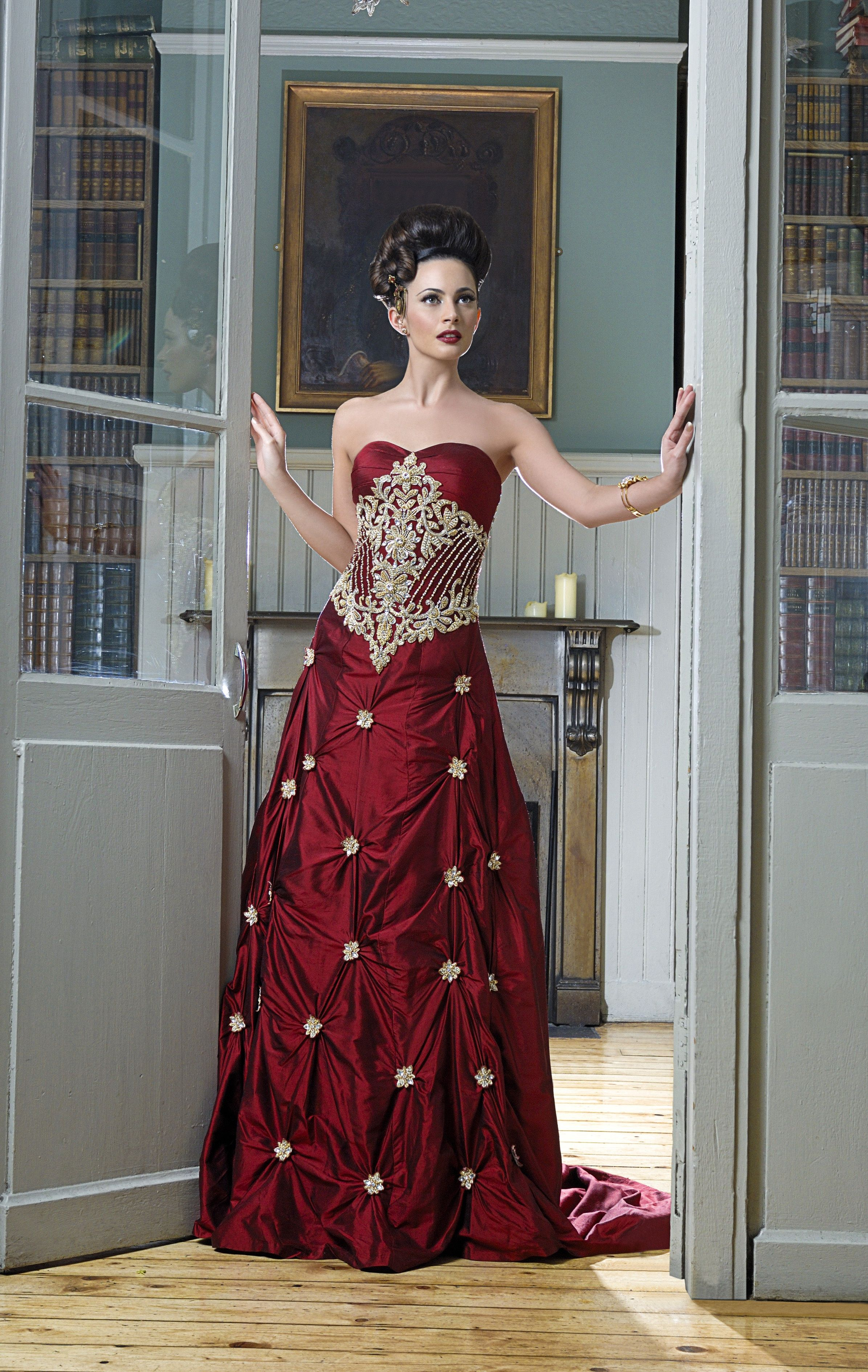 WF01 red twotone raw silk fusion wedding gown with gold