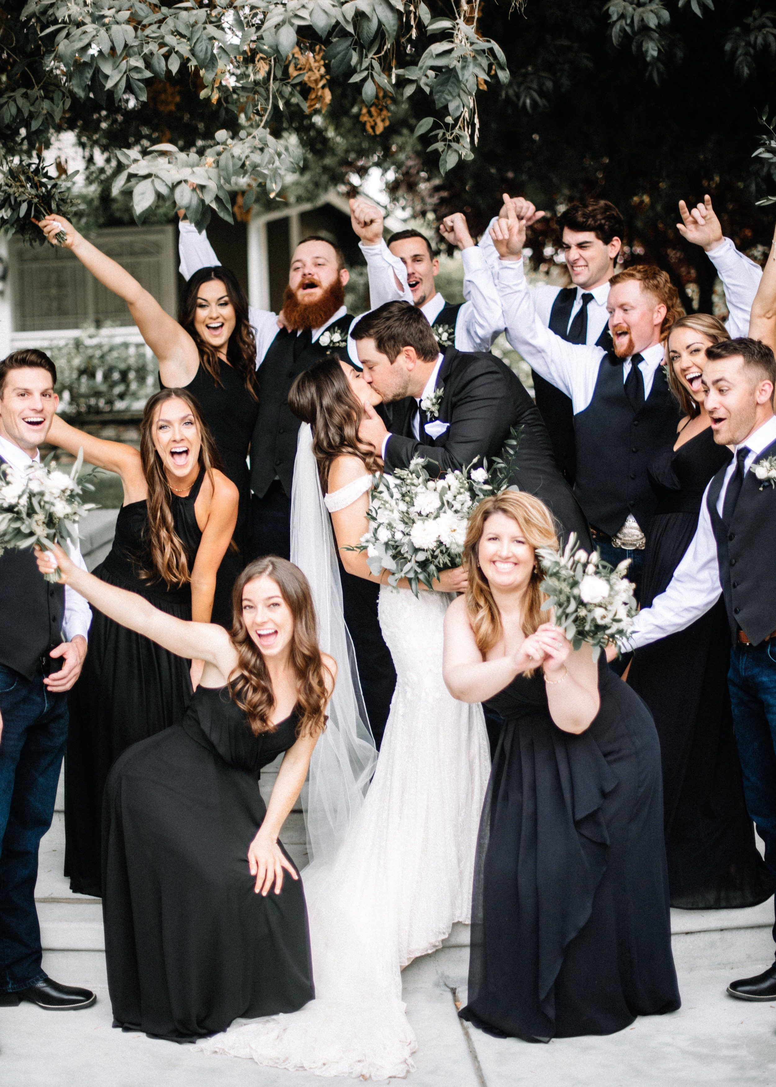 Black White Bridal Party Black White Bridal Party Black Bridesmaid Dresses White Wedding Dresses [ 3500 x 2500 Pixel ]