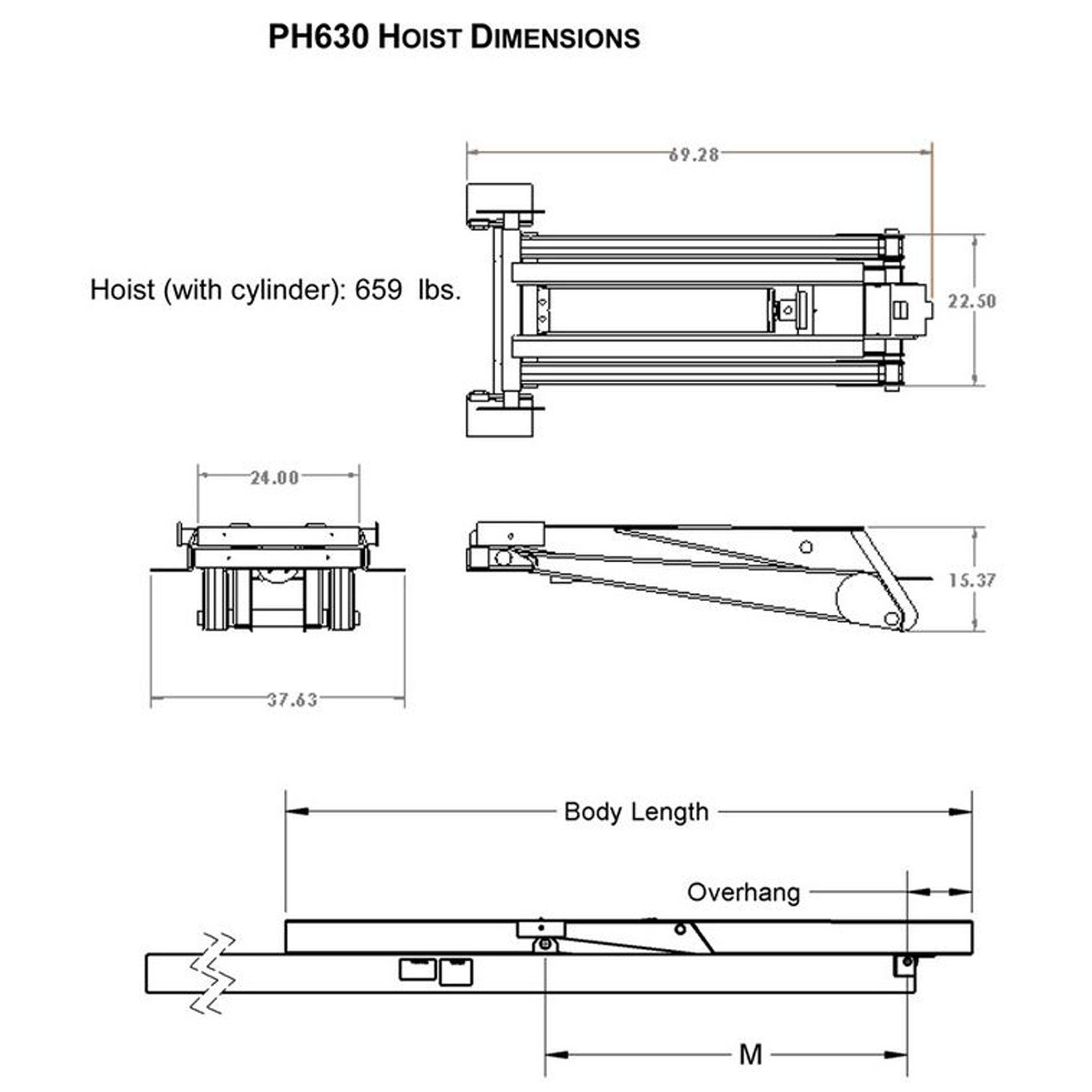 12 Ton (24,000 lb) Dump Trailer Hydraulic Scissor Hoist