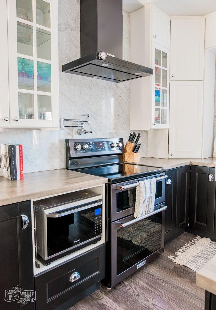 Our Kitchen Makeover with Black Stainless Steel Appliances | The DIY Mommy | Kitchen cabinets ...