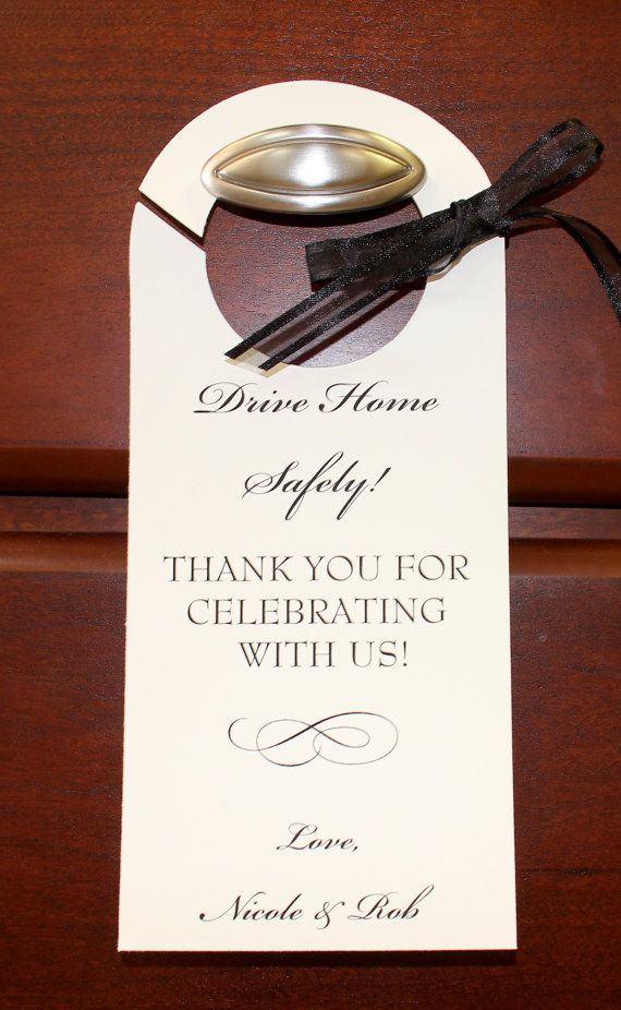 Wedding Personalized Valet Parking Tag Drive Home Safe Rear View