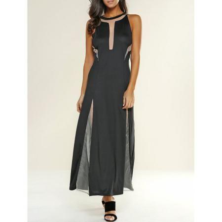 Mesh Patchwork See-Through Maxi Dress