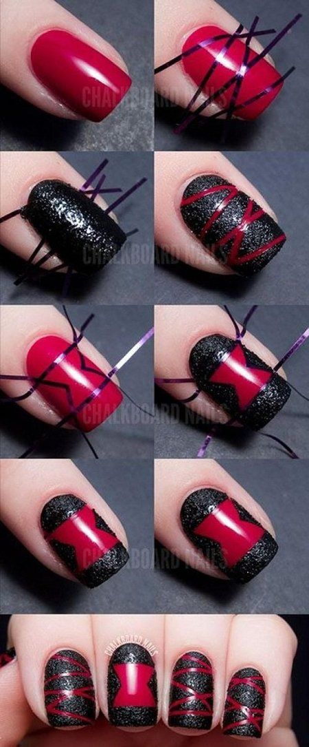 Black And Red Striped Nail Art Tutorial Nailart Howto Polish