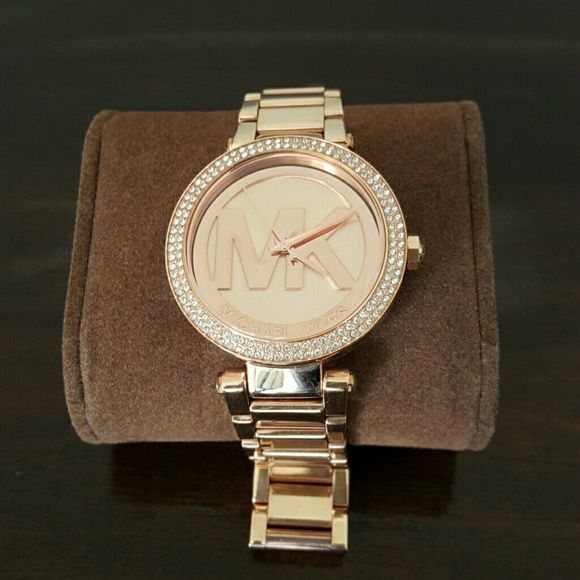 Michael Kors Rose Gold Watch MK Parker Pave Rose Gold Watch, slightly used Michael Kors Accessories Watches