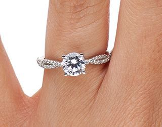 18k White Gold Twisted Vine Diamond Ring 1 4 Ct Tw Cute Engagement Rings Engagement Ring For Her Pave Band Engagement Ring