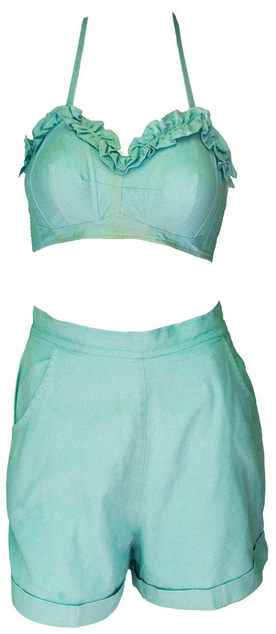 1950s Small Petite Bra Halter Top Bikini High Waisted Short Set Turquoise Blue Aqua Pin Up Beach Honeymoon Romper Festival Coachella Ruffled #beachhoneymoonclothes