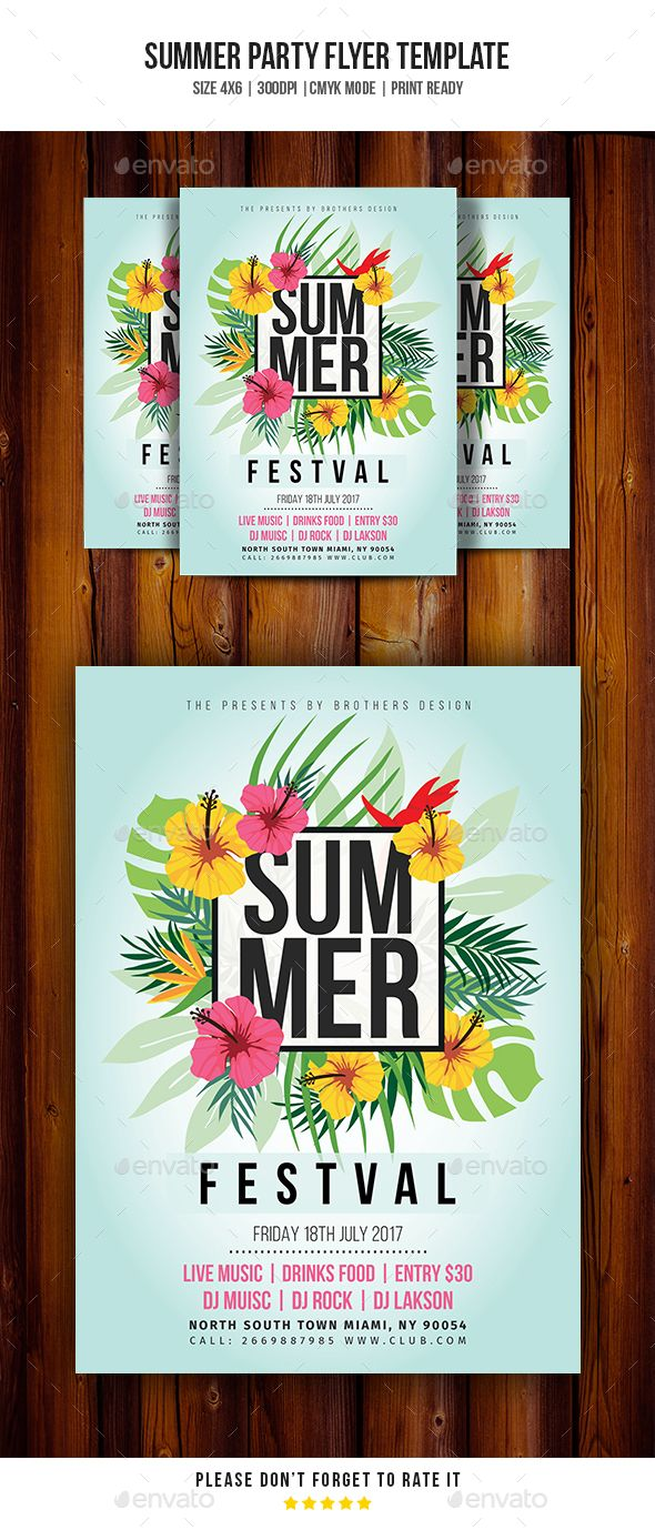 Summer Flyer  Summer Party Flyer Template  Clubs  Parties