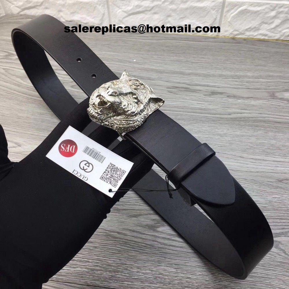 Fake gucci feline head belt 451230 black leather black