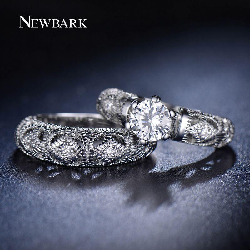 Donne di marca newbark ring 0.5 carati rotondo aaa + cz diamante multa scultura del mestiere wedding ring per le donne gioielli