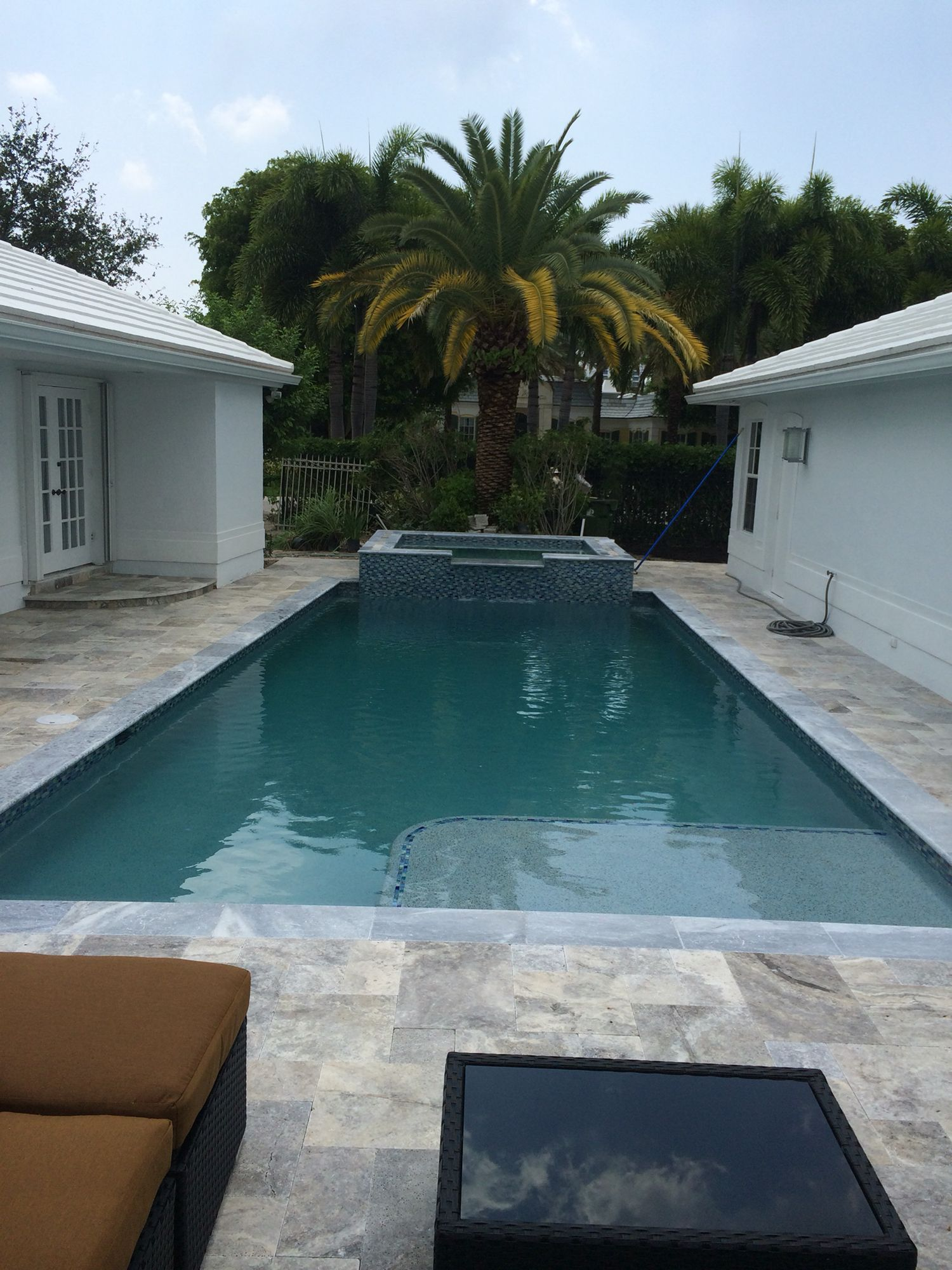 Silver Travertine With Tahoe Marble Coping Glass Tile And