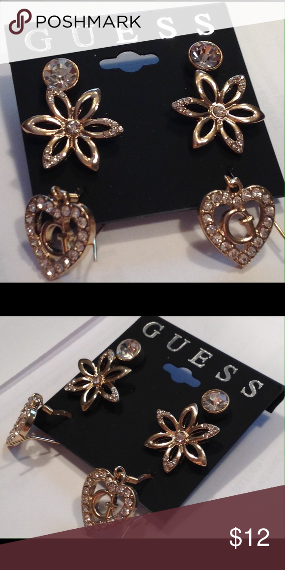 NWT Guess gold metal stone 3 pair set earrings New with tags Guess earrings  set of ae304ae758129