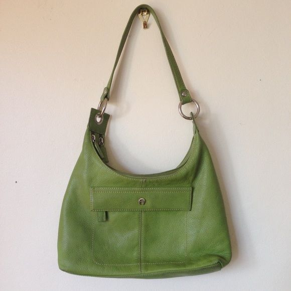 Etienne Aigner leather should bag, avocado green! Beautiful chartreuse / avocado green thick leather shoulder bag with 2 main zipper sections and one front pocket. Silver detailing. Exterior in great shape, barely any marks, but interior has sort of a lot of pen marks- doesn't effect the outside at all, still looks awesome! I used it for a bit but still so much life! Etienne Aigner Bags Shoulder Bags